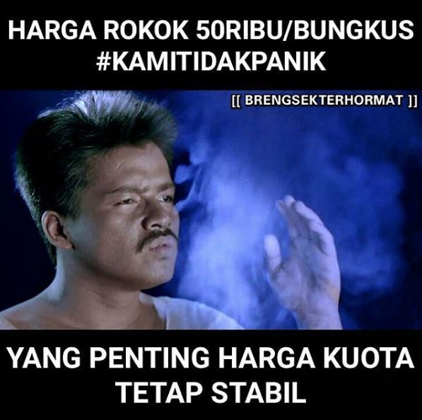 Hashtag #kamitidakpanik Meme Harga Rokok Naik Ngehe Banget Gan (BB+, IGO Inside)