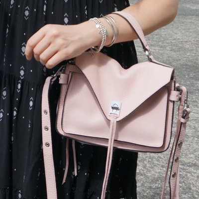 black dress and silver bracelet stack with Rebecca Minkoff small Darren messenger bag in peony |  away from the blue