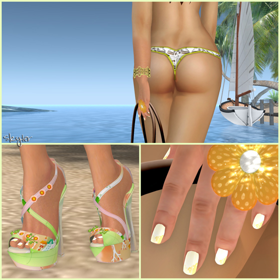 SL Outfit of the Day: Yellow Summer Beach Bikini featuring freebies from 187, IVY'S MIX, K, FINESMITH, Inkheart, Style by Kira, EMO-tions, Lemomo, LUMAE