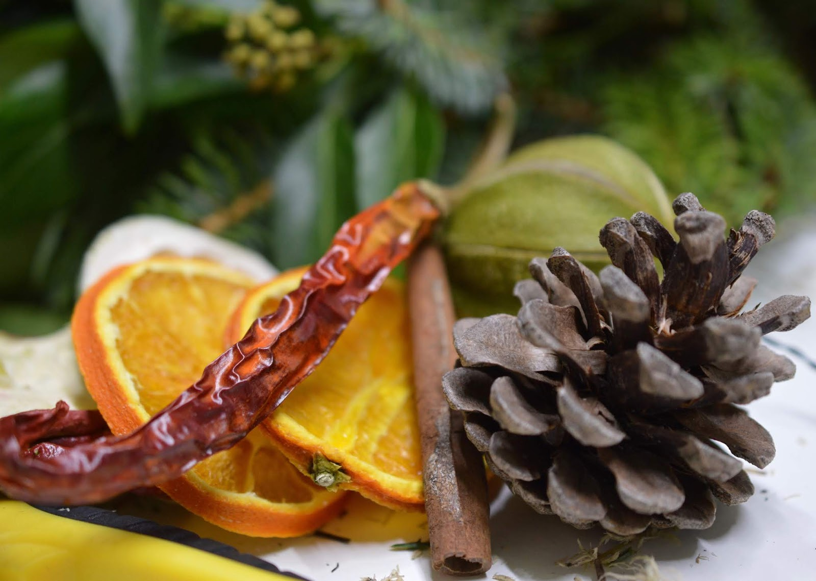 How hard is it to make your own wreath for Christmas?  - dried fruit and chillis