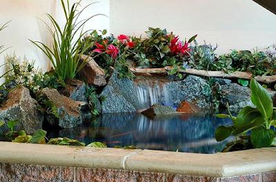 Contoh Taman Dalam Rumah Minimalis Dengan Kolam Ikan Mini dengan Relief Tebing Pegunungan