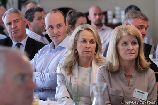 Part of the audience, listening to Hon Todd McLay, Minister of Trade, National MP, speaking about the TPP at a Hawke's Bay Chamber of Commerce lunch at Ormlie, Taradale, Napier. photograph