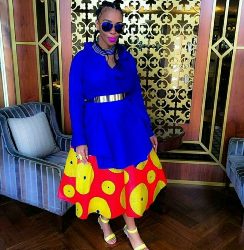 Blue top and red Ankara fashion for Sunday