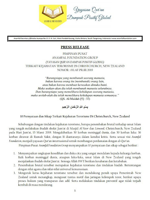 Anamfal Foundation Press Release : 10 Pernyataan dan Sikap Terkait Terorisme Di Christchurch New Zealand