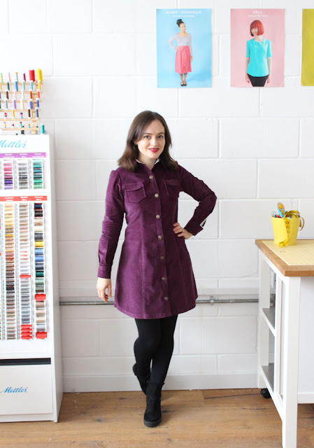 Tilly's needlecord Rosa dress - sewing pattern by Tilly and the Buttons