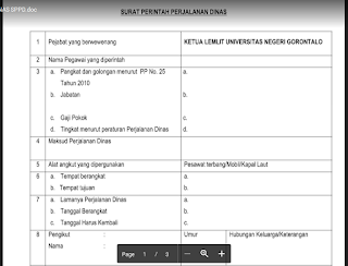 Contoh Surat Perjalanan Dinas Guru (SPPD) dari Kepala Sekolah