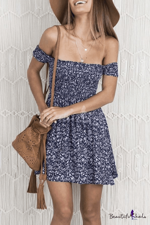 Sexy Off the Shoulder Short Sleeve Floral Print Mini A-line Dress