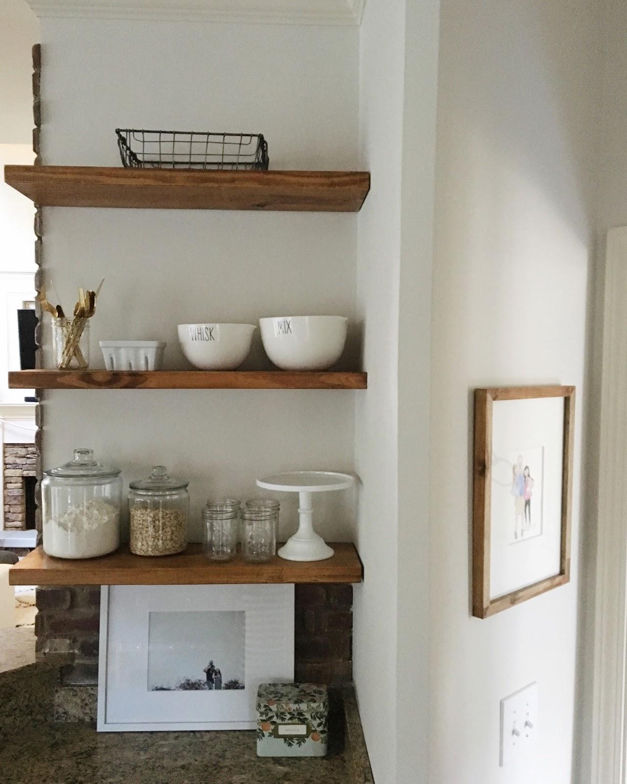 West Elm Floating Shelves diy open shelving reveal - garvinandco