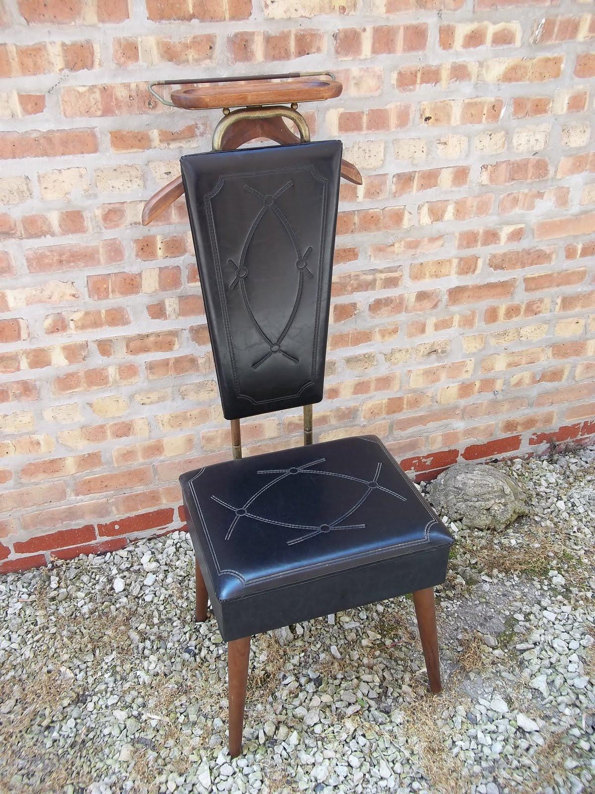 Mens Valet Chair Wooden Bar Stool Chairs Nova Mid Century Black Vinyl With Storage