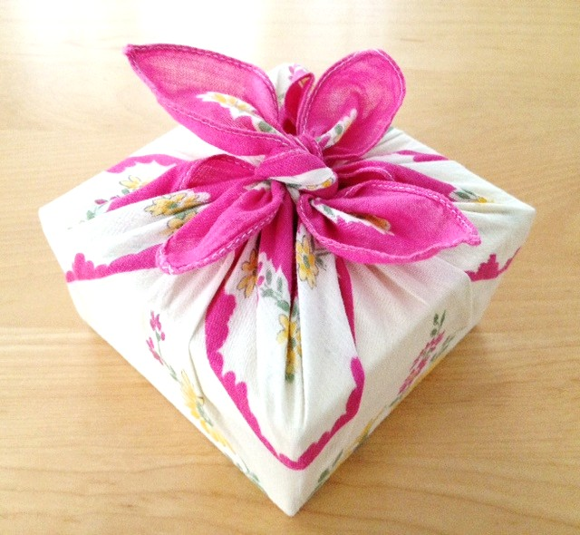 To add persona touch to your gift, wrap it with an old, clean handkerchief.