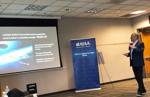 "Producer, Philip Groves, discusses the upcoming IMAX documentary ""Asteroid Impact"" at the AIAA Planetary Defense conference (Source: Palmia Observatory)"