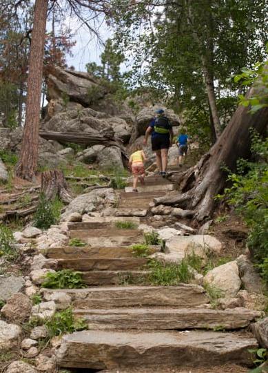 Hiking the Sylvan Lake Trail. Image courtesy of Kim at Oh My! Omaha.