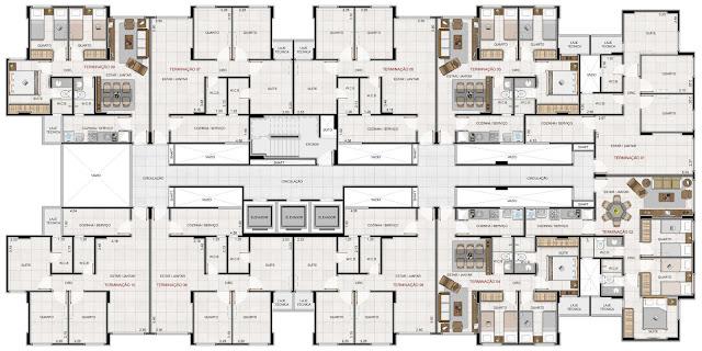 Os pavimentos tipo do edificio residencial pier 750 serão compostos de oito apartamento tipo, hall de circulação e 3 elevadores.