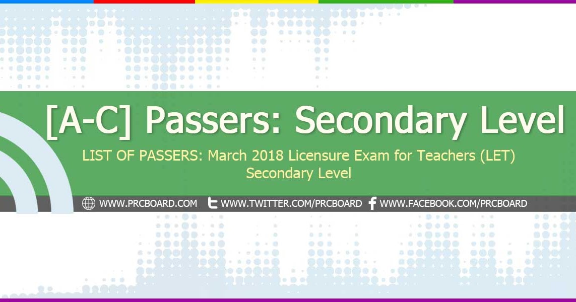 a c list of passers secondary march 2018 let teachers board exam rh prcboard com