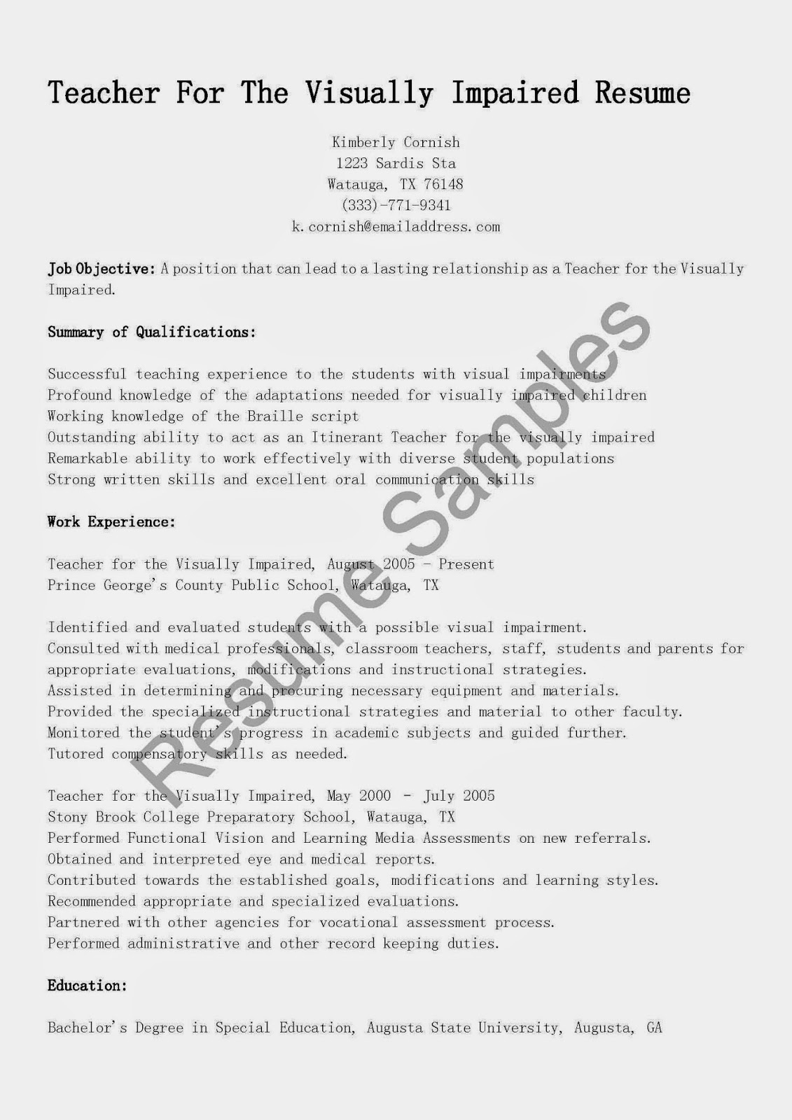 resume samples  teacher for the visually impaired resume