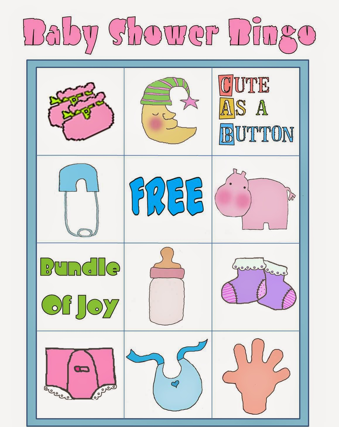 Free Printable Baby Shower Bingo in Colors. - Oh My Baby!