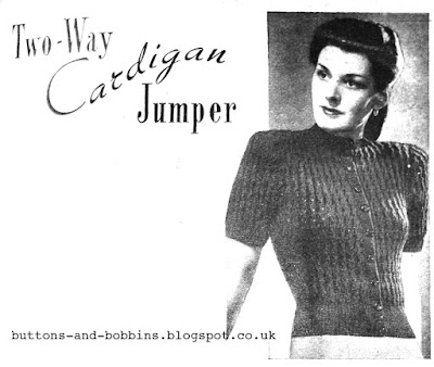 The Vintage Pattern Files: Free 1940's Knitting Pattern - Two Way Cardigan Jumper