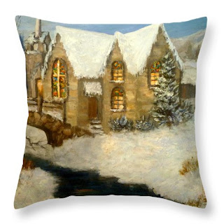 Nature Throw Pillow of a church in the snow with a bridge