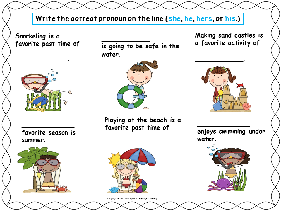 Freebie! SUMMER PRONOUNS- HE, SHE, THEY, HIM, HER, HIS, HERS ...