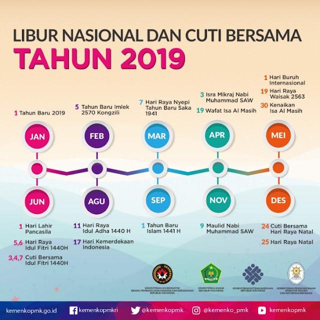 Cuti Bersama dan Hari Libur Nasional Tahun 2019