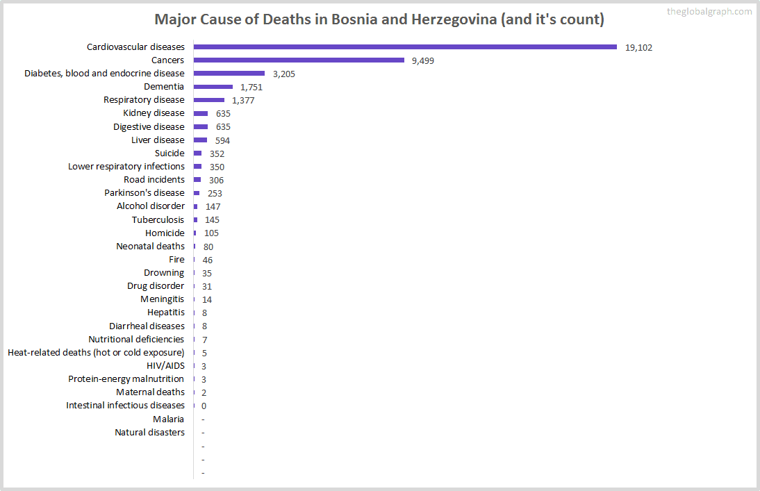 Major Cause of Deaths in Bosnia and Herzegovina (and it's count)