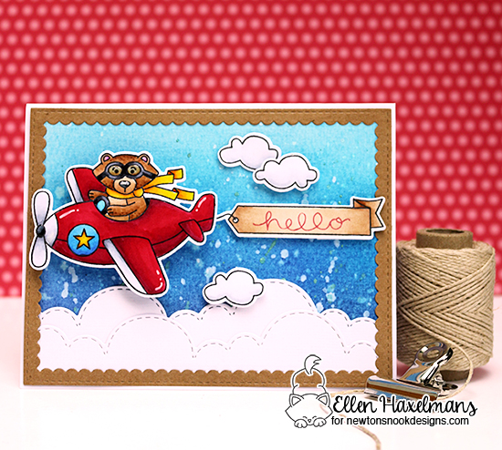Bear driving Airplane Card by Ellen Haxelmans | Winston Takes Flight stamp set and Sky Borders die set by Newton's Nook Designs #newtonsnook