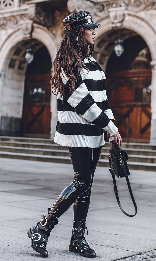 awesome street style / bag + striped sweater + leather skinnies + boots