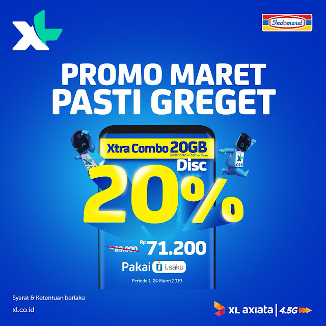 #Indomaret - #Promo Maret Pasti Greget Diskon 20% Xtra Combo 20GB (s.d 21 Maret 2019)
