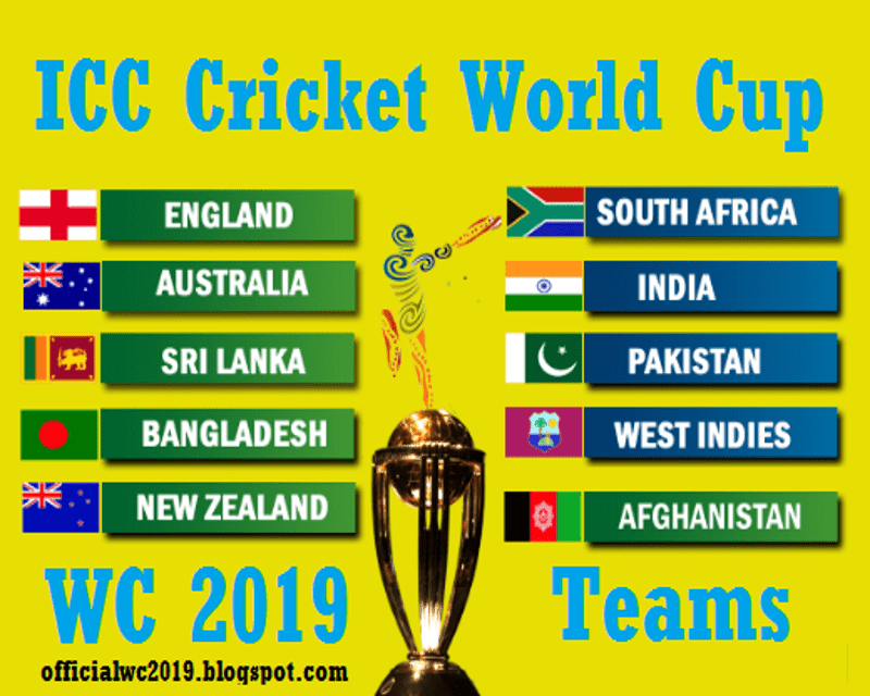 Icc Cricket World Cup 2019 Teams Icc Cricket World Cup 2019