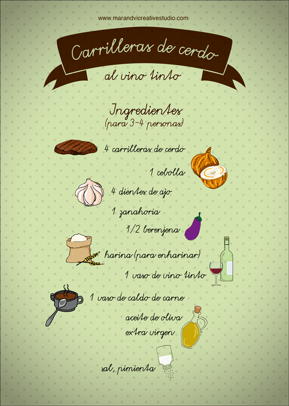 Carrilleras al vino tinto: ingredientes