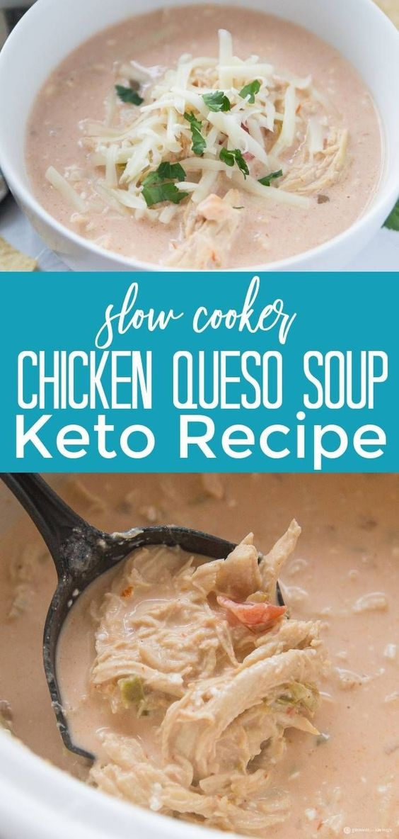 Slow Cooker Chicken Queso Soup For Keto Recipes