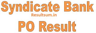 Syndicate Bank PO Clerk Results 2015