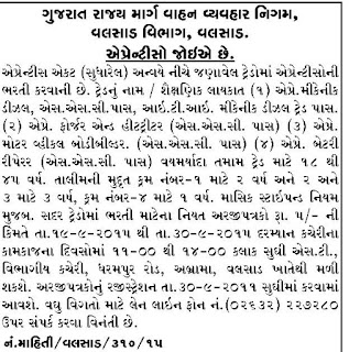 GSRTC, Valsad Recruitment for Apprentice Posts 2015