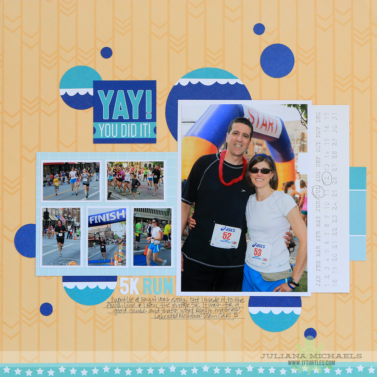 Yay You Did It Running Scrapbook Page by Juliana Michaels for Elle's Studio