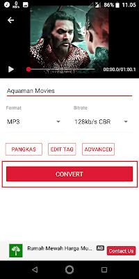 Sobat bisa ganti nama filenya jika perlu, kemudian Sobat atur formatnya menjadi MP3 dan sesuaikan juga Biratenya. Jika sudah klik Convert.