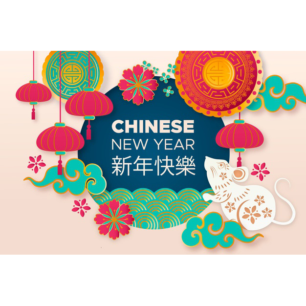 Chinese new year with colourful flowers and cute lady mouse Free Vector