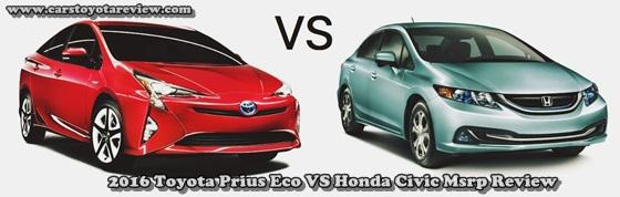 2016 Toyota Prius Eco VS Honda Civic Msrp Review