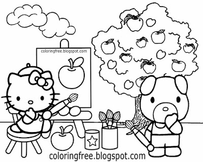 Orchard apple drawing Hello Kitty painting adorable cartoon pig coloring image for girls to print
