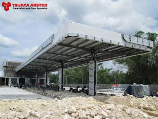 Aluminium Composite Panel, Pintu & Jendela Aluminim, Pintu Kaca Frameles, Plafon Spandrill, Proyek Gresik, Trijaya Aluminium,
