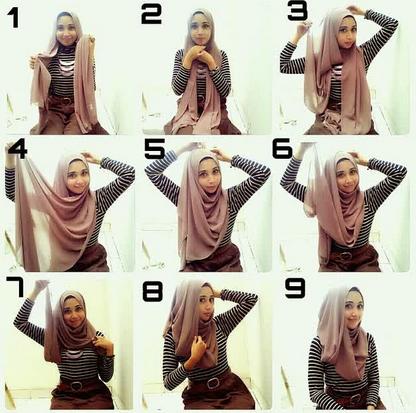 Cara Memakai Jilbab Panjang Simpel Elegan