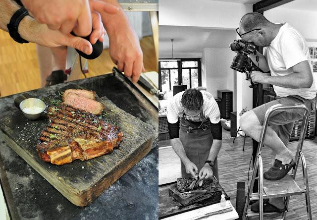 Koch und Grill-Experte Manuel Weyer und Food-Fotograf Mathias Neubauer bei der Arbeit am neuen Kochbuch