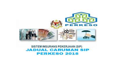 Jadual Caruman SIP PERKESO 2018