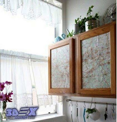 Art furniture with world maps, world map art decor, cabinets with world map