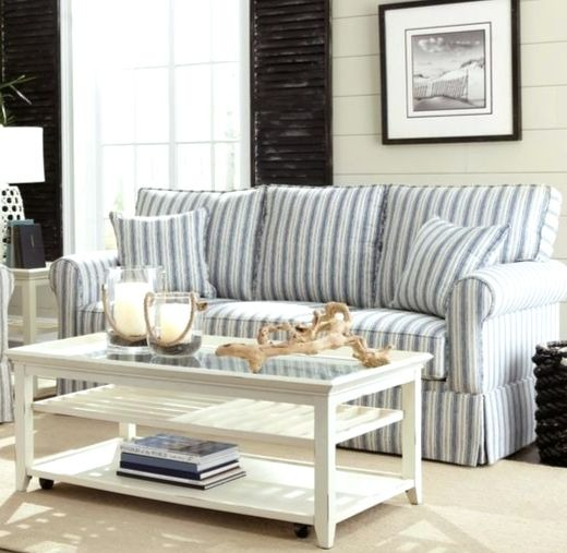 Light blue striped coastal sofa idea