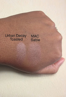 Urban Decay Toasted and Mac Sable Eyeshadow swatched on dark skin