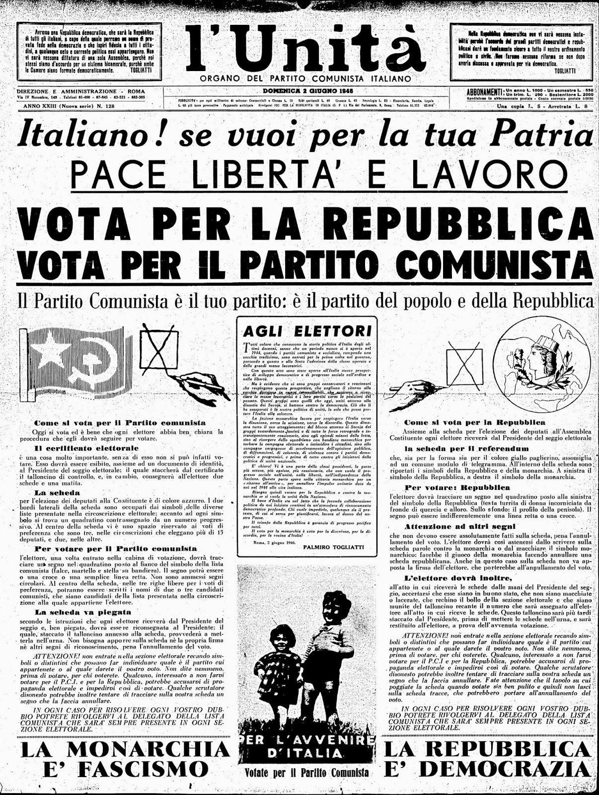 I democratici per casola 2 giugno 1946 il referendum che for Repubblica italiana nascita