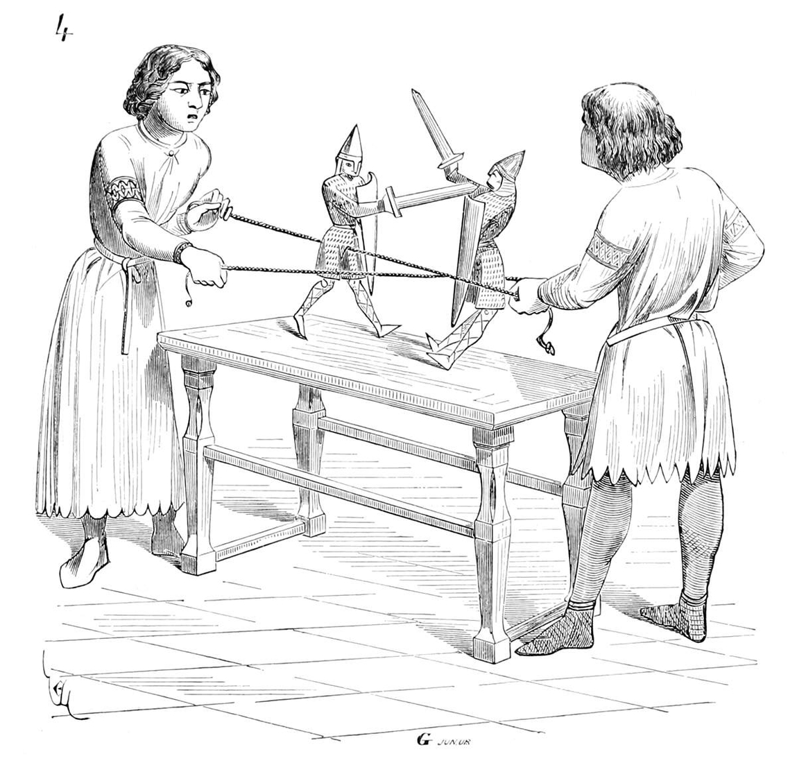 13-Two-boys-playing-with-puppets-Eugène-Viollet-le-Duc-Gothic-Drawings-from-an-Architect-in-18th-Century-www-designstack-co