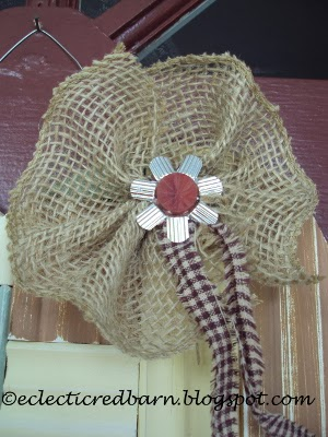 Eclectic Red Barn:  Burlap flower with bulb hanger as center