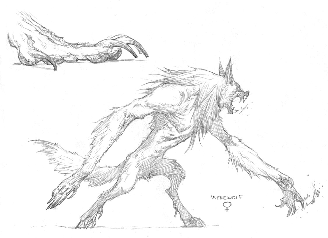 cool drawings of werewolves