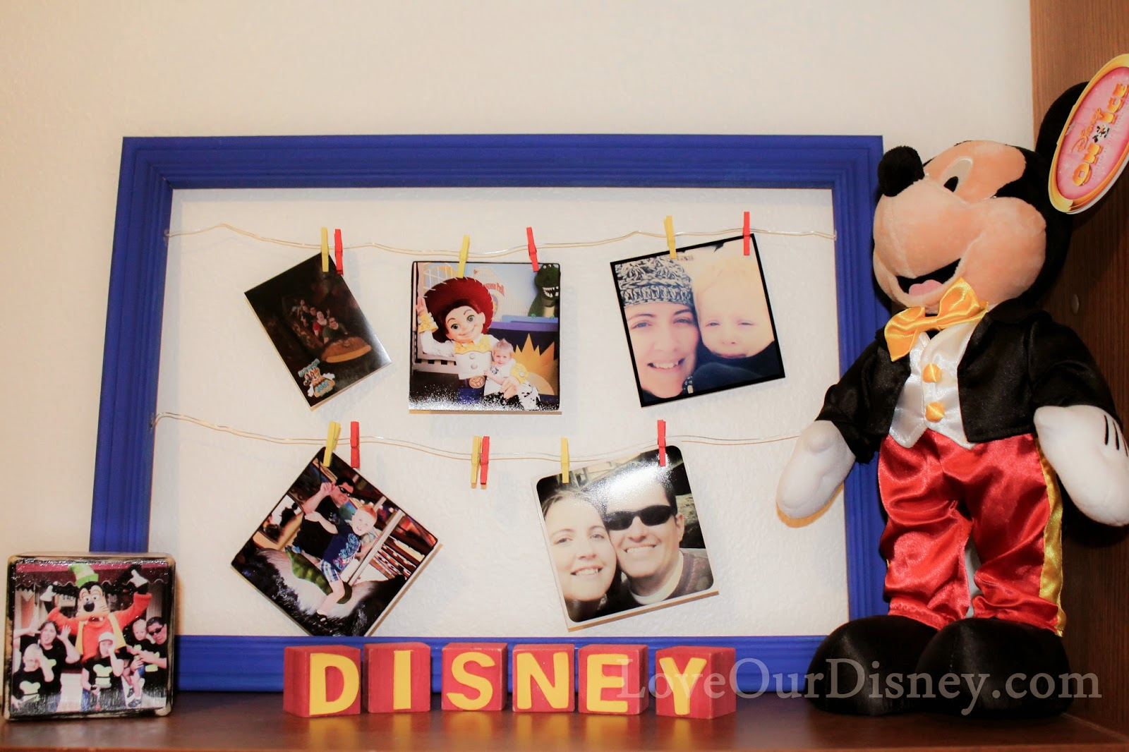 DIY Clothes Line Photo Display from LoveOurDisney.com